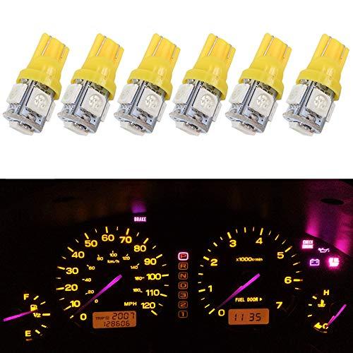 Wljh Lot de 6 ampoules LED T10 5-smd 5050 Jaune ampoules LED W5 W 2825 194 pour panneau de remplacement pour instrument de voiture Dash Gauge Cluster Compteur de vitesse Indicateur Lampes ampoule