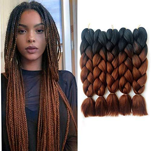 5pcs Jumbo Braid, Ombre Jumbo Tressage Cheveux, Extensions de Cheveux Tressage Synthétiques Kanekalon, Jumbo Tresses 24 pouces 5pcs / lot (Noir brun foncé)