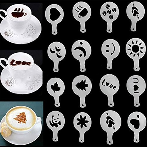 Display08 16 pcs Mode Cappuccino Coffee Barista Pochoirs Duster Spray