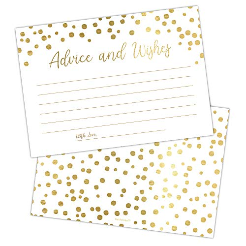 Set of 50 Gold Advice and Wishes Cards, Perfect for the Bride and Groom, New Mr and Mrs, Baby Shower, Bridal Shower, Wedding Shower, Reception, Graduation Party, Retirement Party, Anniversary