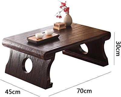 Japanese Tatami Table Low Table Solid Wood Kang Table Mini Platform Sinology Table Balcony Bay Window Table Pure Solid Wood Small Coffee Table (Color : Brown, Size : 70 * 45 * 30cm)