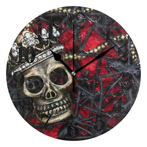 Azalea store - Reloj de pared redondo con diseño de calavera de araña y azúcar, funciona con pilas, de cuarzo, decoración para el hogar, sala de estar, dormitorio, oficina