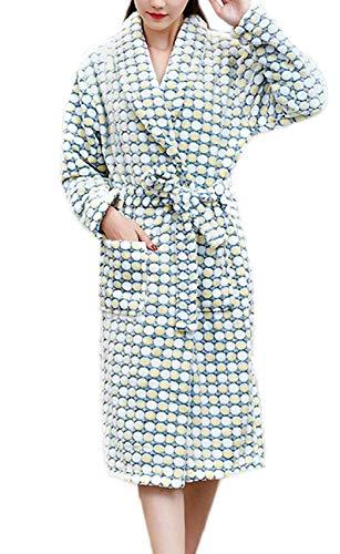 HaiDean Luxe flanellen pyjama voor dames, zacht, warm, comfortabel koraal, kasjmier, douchescherm, jongens, chic, volwassenen, sjaalkraag, lange mouwen, vrije tijd, mooie jurk, badjas