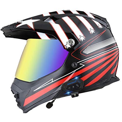 Casco De Motocross ATV Integral Auricular Bluetooth Integrado Visera Solar Doble Casco De Motocicleta Todoterreno Casco De Bicicleta De Montaña Al Aire Libre De Carrera Aprobado ECE 13,M(57-58cm)