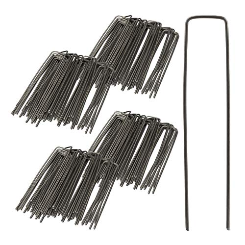 Relaxdays 100er Set Bodenanker, Angeschrägte Enden, Zum Einschlagen, Unkrautvlies, 15 cm lang, 2 mm Ø, Stahl, Silber