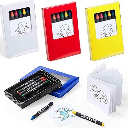 Lote de 20 estuches cada uno incluye 6 ceras más un bloc con 20 hojas con dibujos para colorear. Regalos infantiles cumpleaños, colegios
