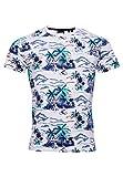 Superdry Supply tee Camisa, Blanco (Ice Marl AOP Cg8), L para Hombre