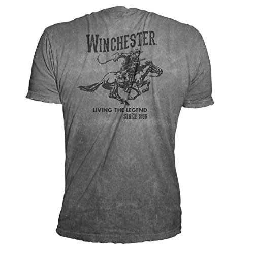 Official Winchester Men's Limited Edition Vintage Rider Graphic Short Sleeve T-shirt (Medium, Charcoal Mineral Wash)