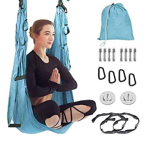 Kacsoo Columpio de Yoga Aéreo con Accesorios Hamaca de Yoga Aéreo 250 * 145cm Juego de Hamaca de Yoga Carga de 200 kg Yoga Swing Set para Colgarse y Aliviar el Dolor de Espalda,para Gimnasio,hogar