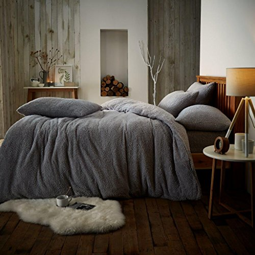 Gaveno Cavailia Teddy Fleece Luxurious Duvet Cover Sets Super Soft Warm and Cosy Bedding Sets (Grey, Double Duvet Set)