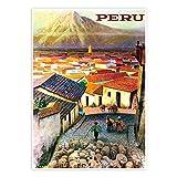 See Peru Reise Poster 16,5 x 23,4 cm Vintage Deko Gemälde