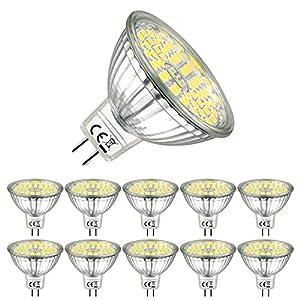 EACLL Bombillas LED GU5.3 6000K Blanco Frio 6W Fuente de Luz 595 Lúmenes Equivalente 75W Halógena. 12V Sin Parpadeo MR16 Focos, 120 ° Spotlight, Luz Diurna Blanca Fría Lámpara Reflectoras, 10 Pack