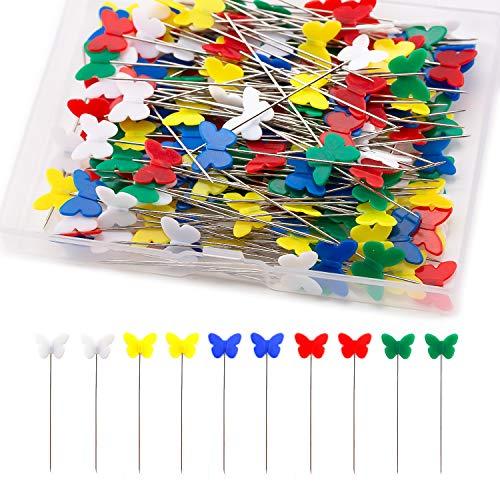 TOYMIS 200pcs Spilli da Sarta - Perni Piatti a Testa di Farfalla Perni Decorativi in Colori Assortiti con una Scatola di Immagazzinaggio per Progetti di Cucito Artigianali da Sarta