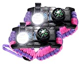 Nexfinity One Survival Paracord Bracelet - Tactical Emergency Gear Kit with SOS LED Light, Knife, 550 Grade, Adjustable, Multitools, Fire Starter, Compass, and Whistle - Set of 2 (Purple Pink)