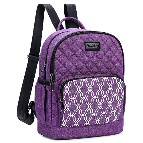 AmHoo Insulated Lunch Box Bag Reusable Cooler Backpack Double YKK Zippers Waterproof Multiple Pockets Quilted For Women Hiking Beach Picnic Trip,Purple