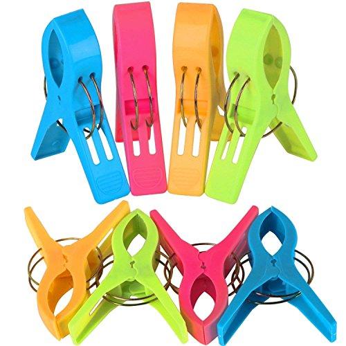 AMAZING1 - Juego de 8 pinzas de plástico para toalla de playa, de color brillante, para tumbonas o para vacaciones, para tumbonas, tumbonas, etc.