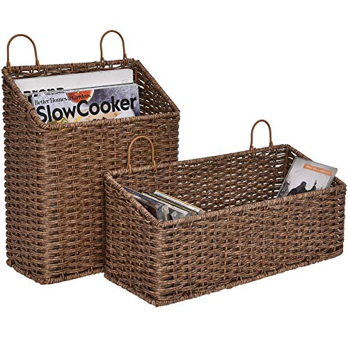 StorageWorks Hand-Woven Imitation Wicker Hanging Baskets, Storage Baskets for Bathroom, Hanging Wall Storage Baskets, Magazine Racks for Home Office, Gingerbread Brown, 2-Pack