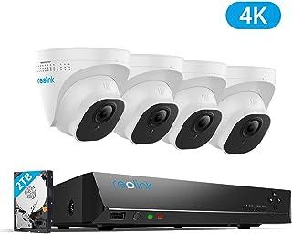 Reolink 4K Ultra HD 8CH Sistema de Cámaras de Seguridad PoE Hogar Exterior con 4X 8MP Cámaras IP PoE y 2TB HDD NVR Impermeable Visión Nocturna Audio Detección de Movimiento RLK8-800D4
