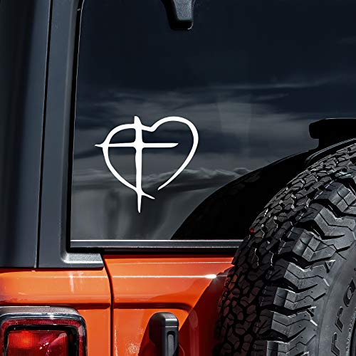 Christian Cross and Heart Decal Vinyl Sticker Cars Trucks Vans Walls Laptop | White | 5.5'
