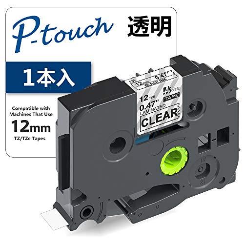 1個 12mm 透明地黒文字 互換 ブラザー工業 ピータッチ TZeテープ ラミネートテープ Brother P-Touch TZe-131 (TZe131) 8M ASprinte