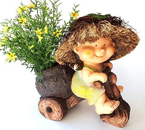 Gartenkind Mädchen mit Strohhut und Pflanzfahrrad Gartendekofigur Pflanzgefäß Pflanzfigur Pflanztopf