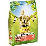 Purina Friskies Vitafit Omega Pienso para Perro Adulto Buey y PescadO, 3 Kg