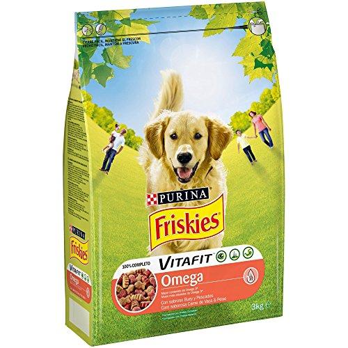 Purina Friskies Vitafit Omega Pienso para Perro Adulto Buey y Pescado 4 x 3 Kg