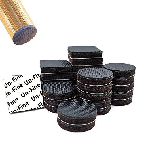 Uni-Fine 32 Stück Filzgleiter Selbstklebend Möbelgleiter Filz und Gummi, Rund und Quadratisch 24×5 mm Stuhlgleiter Filz Bodengleiter für Stühle Boden, Kratzschutz, Möbel