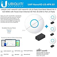 UniFi nanoHD UAP-nanoHD-US (4パック) コンパクトデュアルバンド Wave2 エンタープライズ Wi-Fi 4x4 MIMO パワーオーバーイーサネット 48 POE-48-24W-G (4パック) PoE付属