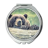 ミラー、メークアップミラー、動物動物写真クマ、ポケットミラー、ポータブルミラー