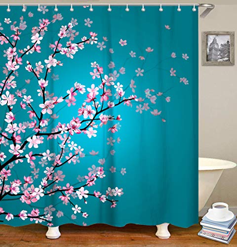 Bright blue Cherry Blossom Shower Curtain