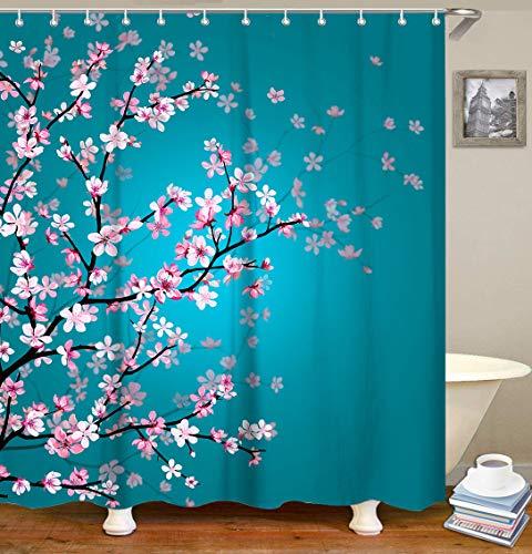 Bright blue Cherry Blossom Shower Curtain