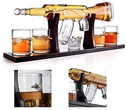 Decantador de vino de cristal de cráneo y gafas Set 1000ml m16 pistola de gafas de bala de decantación grande, decantador de whisky de rifle elegante con 4 gafas de whisky de bala y mohogany base de m