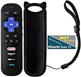 Replacement Remote Control Compatible with Hitachi Roku TV 55R7 43R80 49R80 50R8 55R80 65R80 65R8 60R70 X490077 with Black Remote Case