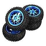 Drfeify RC Truck Wheel Rally Tire, Blue Metal RC Tires Wheel Rally Tyres Upgrade Parts for WL 1/18 A959 A979 A969 RC Crawler Car