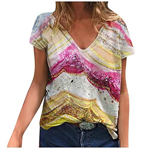 DUIGUN Damen top Rückenfrei Damen top Plus Size Frauen Kurzarm Bedruckte V-Ausschnitt T-Shirt T-Shirt Bluse