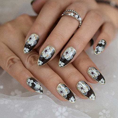 Fake Nails Gorgeous Flower Fake Nails Quality Stiletto Artificial Nails Off White Designed Gold Line Decoration Tips Medium Manicure Tool