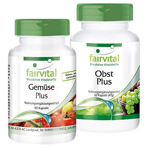 Multivitamin Kapseln aus Obst und Gemüse-Pulver - Natürlich, hochdosiert & Vegan - mit Vitaminen & Mineralien - Obst & Gemüse Plus - 120 Kapseln (60x2)