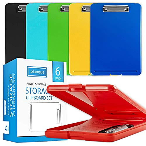 PLANQUE Professional Clipboard with Storage Compartment - Heavy Duty Nursing Clipboard, Durable Plastic Clip Board, Elegant Storage Clipboards Set, Medical Clipboards with Pen Holder (Multi-Color)