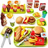 GeyiieTOYS 55tlg Kinder Küchenspielzeug, Lebensmittel Spielzeug, Küche Hamburger Set, Pädagogisches Rollenspiele, Geschenk für Jungen Mädchen 3-12 Jahre