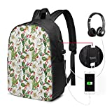 Usicapwear Backpack,Christmas Themed Floral Poinsettia Winter Inspirations Berries Leaf