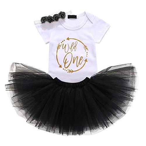 Baby Girls 1st Birthday Cake Smash 3pcs Outfits Set Cotton Romper Bodysuit+Tutu Dress+Flower Headband Princess Skirt Clothes Black Arrow Wild one Outfits One Size