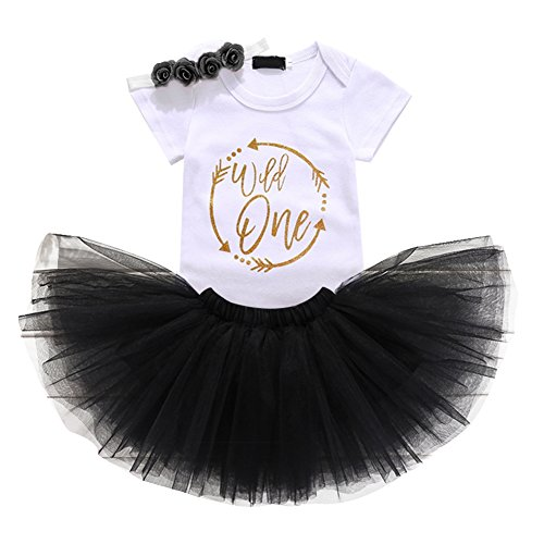 Baby Girls 1st Birthday Cake Smash 3pcs Outfits Set Cotton Romper Bodysuit+Tutu Dress+Flower Headband Princess Skirt Clothes Black Arrow Wild one Outfits One Size