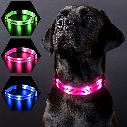 PZRLit Collar Ultra Luminoso Perro , Recargable por con 3 Modos de iluminación Collar LED Perro Luz de Seguridad, Ajustable para Todos Los Perros-Rosado,Pequeño