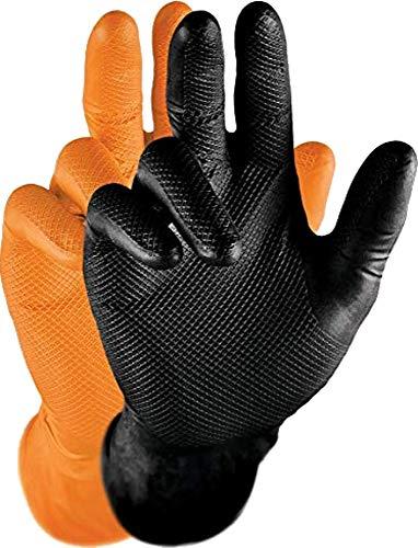 Grippaz Gripster Nitril Handschuhe extrem robust und reißfest pattentierte Schuppenprägung (M, schwarz)