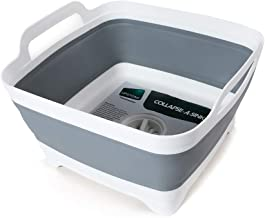 Flow.month Dish Basin With Drain by Progressive CDT-1 Collapsible Large Pop Up Portable 9 Litres capacity, Washing Basin, Perfect for RV Sink, Best Dish Tub,Food Sink Strainer