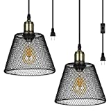 DEWENWILS Plug in Pendant Light, Hanging Light with 15ft Cord, On/Off Switch, Metal Net Shade ,Hanging Light Fixture for Bedroom, Kitchen Island, Living Room, Dining Table, 2 Pack