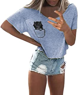 Women Ladies Cute Cat Print Round Neck Short Sleeve Blouse T-shirt Top