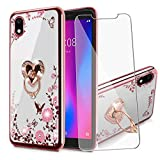 BTShare for ZTE Avid 579 / ZTE Blade A3 2020 Case with Tempered Glass Screen Protector, Bling Crystal Clear Soft Transparent TPU Slim Fit Kickstand Case Cover for Girls & Ring Grip, Love