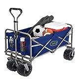 Smart Design Collegiate Heavy-Duty Utility Collapsible Sports Wagon – Heavy Duty Wheels Beach Cart - 20.15 x 35.5 x 22.5 inch - University of Utah Team Design - Black & Crimson Colors - [Utes]
